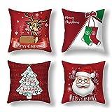 TDCQ Funda de Almohada de Copo de Nieve, Funda de Almohada de Navidad, Funda de cojín de Navidad, Almohada de Navidad, Funda de Almohada de sofá de Navidad (Dibujos Animados Rojo)