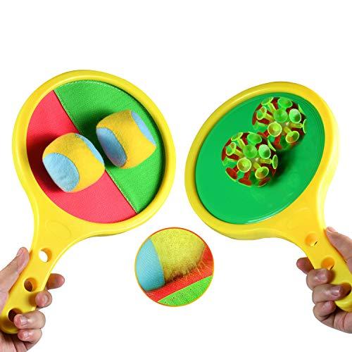 Funmo Klettball Set Klettballspiel für Kinder, Baseball Sommer-Spiel Ball Klettball Spiel Set Fangballspiel Kinder Wurf und Catch Ball für Party,Garten,Strand