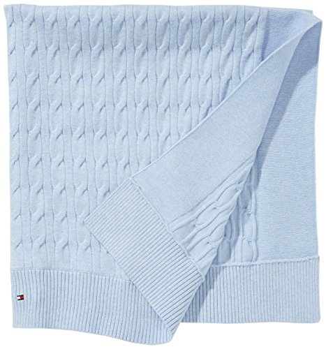 Tommy Hilfiger - Jungen Schal New Cable Blanket, Einfarbig, Gr. One Size, Blau (Baby Blue Heather 423)