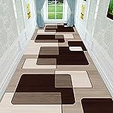 ZYUN Teppich Läufer Flur Teppich Beigebraun Geometrische Muster, Badteppich Flurläufer für Küche Wohnzimmer, dauerhaft rutschfeste, Breite 80 cm/100 cm/120 cm erhältlich