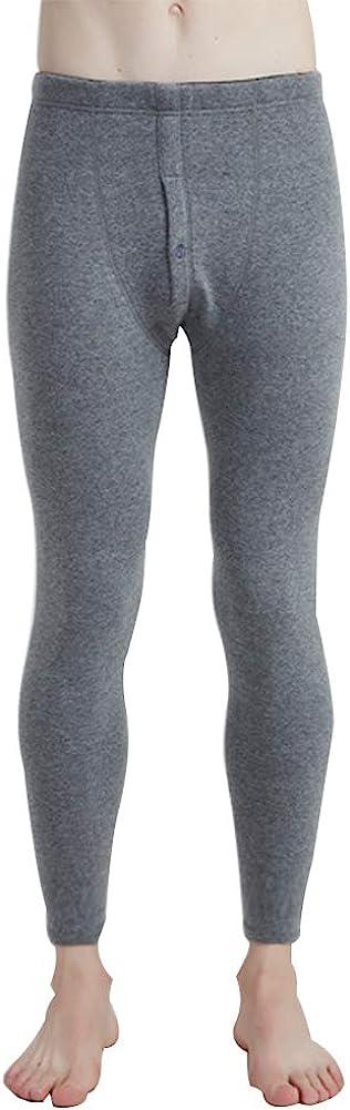 Men's Fleece Lined Thermals Bottom Long Johns Underwear Base Layer Soft Thick Light Grey XXXL