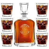Murrano Set Decanter per Whisky in vetro - da 700 ml - incisione personalizzata - Caraffa + 6 bicchieri - idea regalo per il compleanno per l' uomo - Il mondo