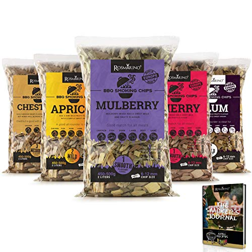 ROSMARINO BBQ Smoking Wood Chips 5 Pack - 100% Natural Hardwood Chips in Mulberry, Chestnut, Plum, Apricot & Cherry Flavour - Free Recipe Ebook BBQ Smokers Journal Included