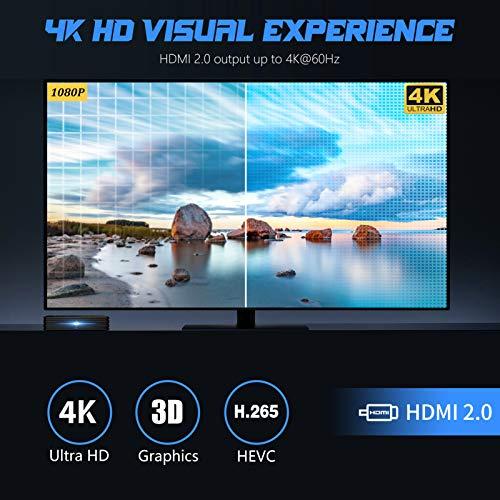 Android 10.0 TV Box【4GB+64GB】 R2 Plus Smart TV Box RK3318 Quad-Core 64bits dual WiFi 2.4G/5G, 4K HD Android Smart TV Box H.265/LAN 100M/Blueooth 4.0