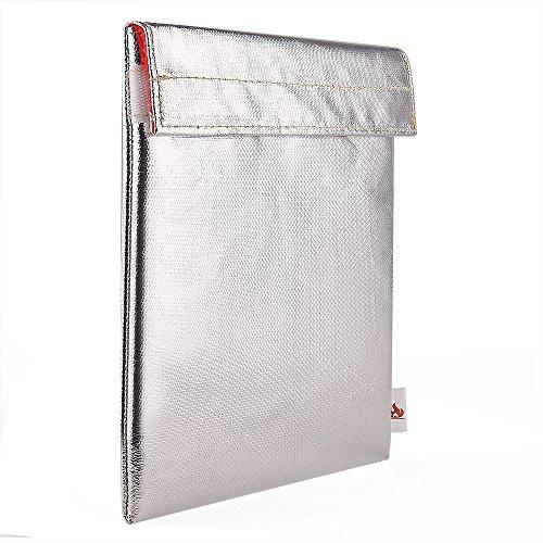 KUUQA Fibra de Vidrio sin Picazón Bolsa Resistente al Fuego del Document Funda de Prueba de Fuego Para Efectivo, Pasaportes, Fotos, 27.5 X 17.5cm