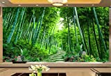 Papel Pintado 3D Murales Pared Bosque De Bambú Camino Pequeño Verde Foto Mural Pared Fotomurales Decorativos Pared Papel cuadros decoracion salon