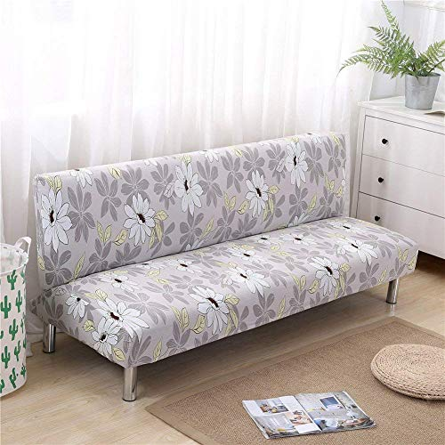 GWFVA Armless Sofa Hoes Stretch Spandex Slipcover Mooie Bloem Thuis Decor Slaapbank Cover