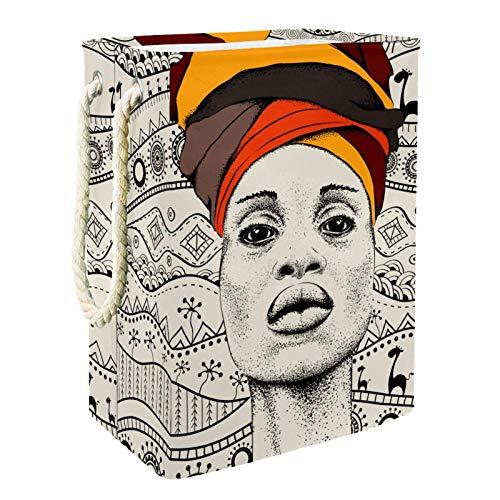 EZIOLY Cesta de lavandería para mujer africana en turbante tribal plegable con asas soportes desmontables, resistente al agua para la ropa, juguetes, organización en la sala de lavandería, dormitorio