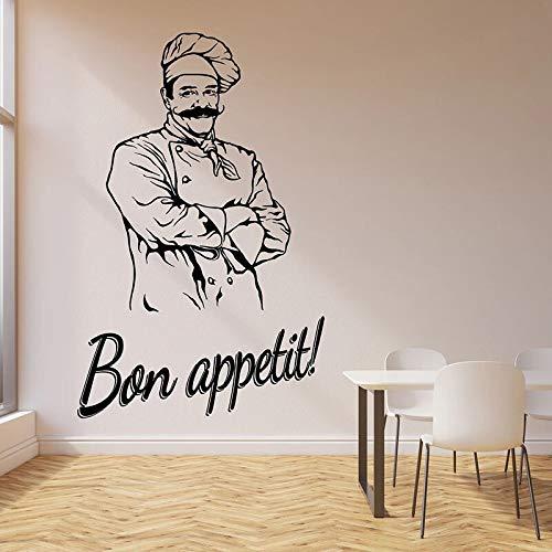 WERWN Si Prega di Godere di Adesivi murali Chef Cuoco Modello Frigorifero Porte e finestre Adesivi in Vinile Cucina Ristorante Interni Art Deco Carta da Parati