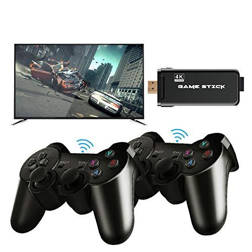 Console de jeu vidéo portable classique, console de jeu vidéo HDMI 4K avec double contrôleur sans fil 2.4G Prise en charge des jeux 3000/10000 intégrée pour console de jeu PS1 / GBA (noir)