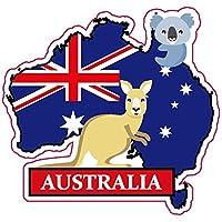 ナショナルフラッグ&マップシリーズステッカー 国旗地図 防水紙シール スーツケース・タブレットPC・スケボー・マイカーのドレスアップ・カスタマイズに (オーストラリア)
