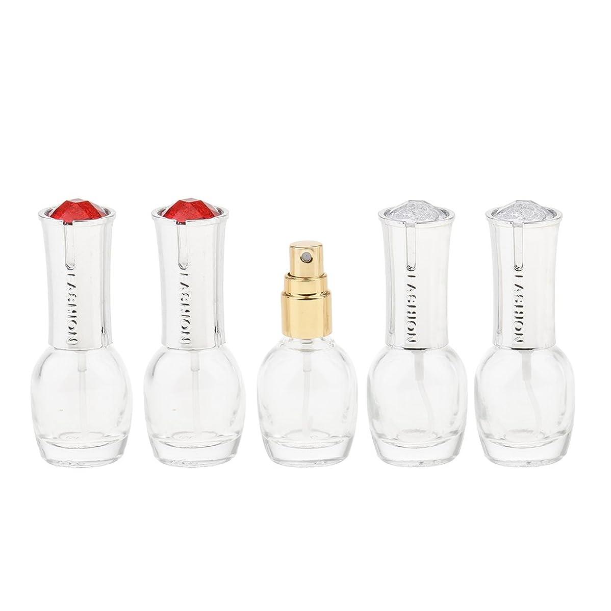 Kesoto 5個 ガラス 香水ボトル 空のガラスエッセンシャル オイル 香水 アトマイザー スプレーボトル 10ml 旅行