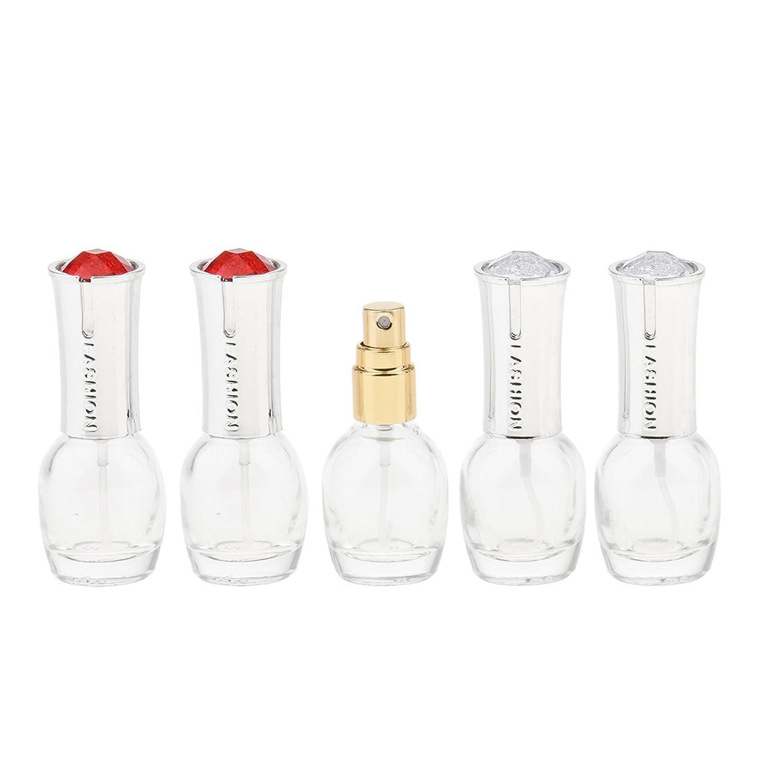 ボックス悪夢ファイターKesoto 5個 ガラス 香水ボトル 空のガラスエッセンシャル オイル 香水 アトマイザー スプレーボトル 10ml 旅行