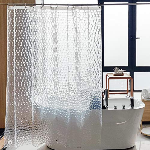 NTBAY EVA Clear Shower Curtain Liner, Water Repellent Shower Curtain for Bathroom Shower Stall, Water Cube, 72 x 72 Inches