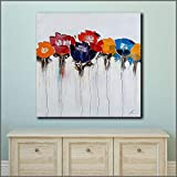 Poppy Flower Mural Art Canvas Poster Mural Living Room Pintura al óleo en joyería Moderna Moderna Paintingless frame50x50cm