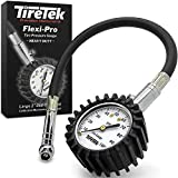 TireTek Motorcycle Tire Pressure Gauge 0-100 PSI - Tire Gauge with Flexible Air Chuck and ANSI B40.1 Accuracy for Motorcycle, Bike, ATV, Car, and SUV