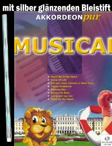 Akkordeon Pur Musical (40 Seiten - Noten/Sheetmusic) - die schönsten Musical Melodien arrangiert für Akkordeon mit silbernglänzendem Bleistift