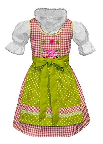 Kinderdirndl Dirndl Trachtenkleid Pink Kariert Grün 3 TLG. Set - Marie (152)