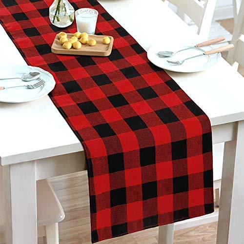 Starlight&Infinity Buffalo - Camino de mesa con diseño de cuadros de mezcla de algodón y poliéster, color rojo y negro para decoración navideña, para el hogar, el comedor, la casa de campo y la fiesta
