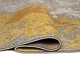 Carpeto Rugs Modern Läufer Flur Teppich Abstrakt Muster - Kurzflor Teppichläufer für Flur, Küche, Schlafzimmer, Esszimmer - Flurläufer in Versch. Größen und Farben - Gelb Gold 70 x 250 cm - 2
