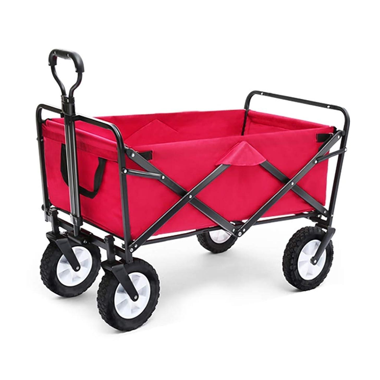 コスチューム統合社交的折りたたみビーチワゴン 収穫台車?キャリー 折りたたみ式ガーデントロリーカート ヘビーデューティーワゴン 多機能ショッピングカート にとって アウトドア キャンプ 釣り プルトラック 4つの車輪で、 赤、 積載量:80kg