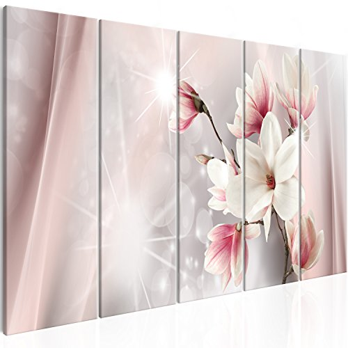 murando Cuadro en Lienzo Flores Magnolia 200x80 cm Impresión de 5 Piezas Material Tejido no Tejido Impresión Artística Imagen Gráfica Decoracion de Pared Beige b-B-0270-b-m