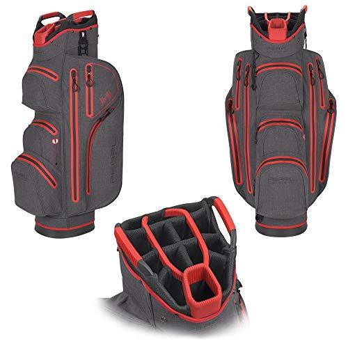 PearlGolf Liberty Cartbag - Wasserdicht - 14-Fach Unterteilung - Golfbag - NEU, Dark Grey - Toxic Red