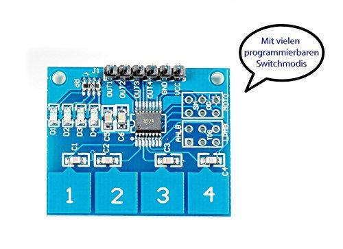 MissBirdler Kapazitiv Sensor capacitive Touch Modul Touchsensormodul TTP224 4Tasten für Arduino Raspberry pi