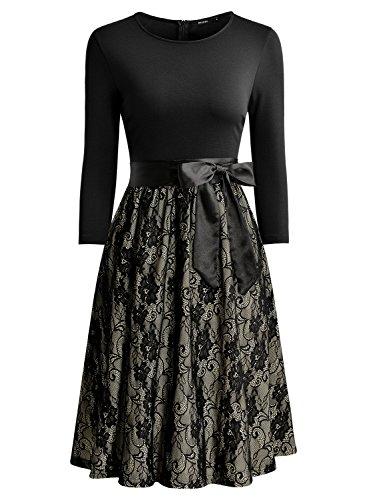 Miusol Elegant Vintage Spitzenkleid 3/4 Arm Hochzeit Brautjungfer Schleife Abendkleider - 3