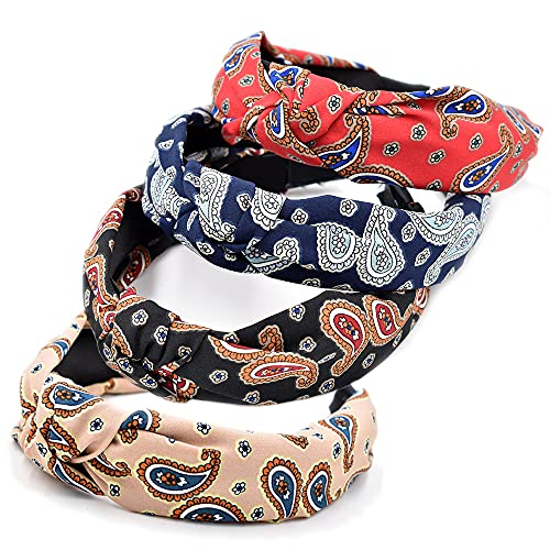 Boho diademas para mujer, 4 paquetes de tela mixta ancha con impresión africana, nudo vintage bandana, accesorios para el cabello elásticos (ArchGoldCashew)