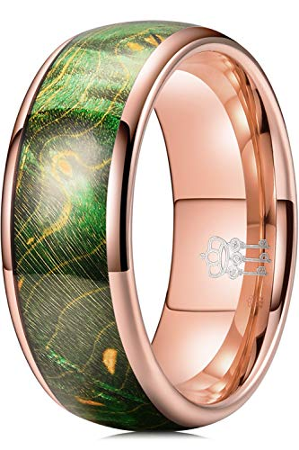 THREE KEYS JEWELRY Men Wedding Bands Tungsten Viking Carbide Ring with Green Dyed Box Elder Wood Polished Infinity Unique Domed for Him Rose Gold Size 12
