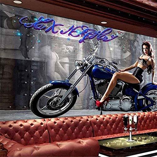 FVeng LIN Carpet Fototapete 3D Schöne Sexy Mädchen Motorrad Tapete Wandkunst Kinderzimmer Schlafzimmer Wohnzimmer Esszimmer Kinderzimmer Fitnessstudio Wand Hintergrund Wanddekoration-250cmx175cm(LxH)