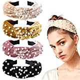 Headbands Women Hair Head Bands - Accessories 4 Pcs Velvet Pearl Head Bands Cute Beauty Hairbands Fashion Girls Vintage Hair Boho Wide Bands For Workout GYM Yoga Running