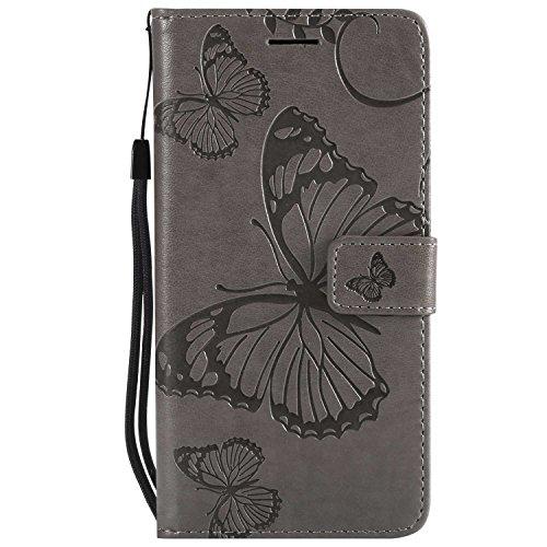 DENDICO Cover Huawei P10 Lite, Pelle Portafoglio Custodia per Huawei P10 Lite Custodia a Libro con Funzione di appoggio e Porta Carte di cRossoito - Grigio