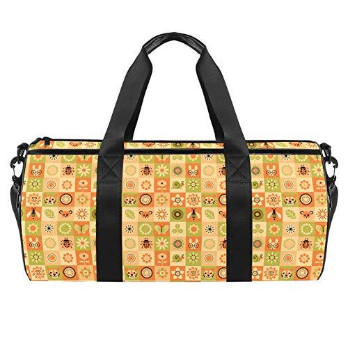 TIZORAX Sporttasche mit Bienen-Tiger-Schnecken-Blumen-Motiv, Fitness-Reisetasche, Dachgepäckträger-Tasche