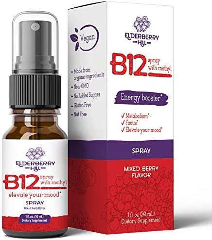 Organic Vitamin B12 with Methylcobalamin Energy Booster Sublingual Liquid Spray 3000mcg by Elderberry product image