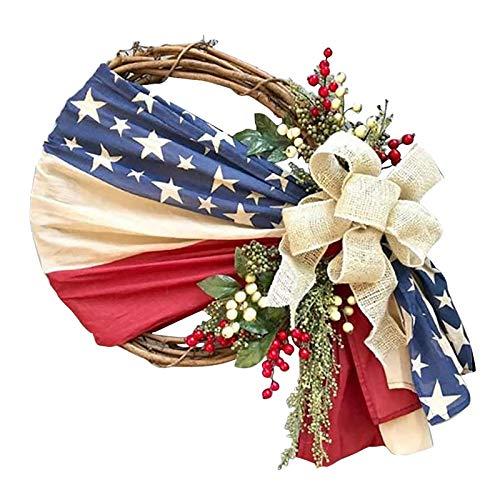 DYNWAVE Grinalda Da Bandeira americana Pano Artesanal Floral Guirlanda de Flores do Dia Da Independência Patriótico Dia Memorial Porta Da Frente de Casa - B