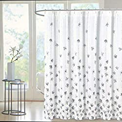 powerful Grayscale Vine Floral and White with Silver Tahari Fabric Shower Curtains –…