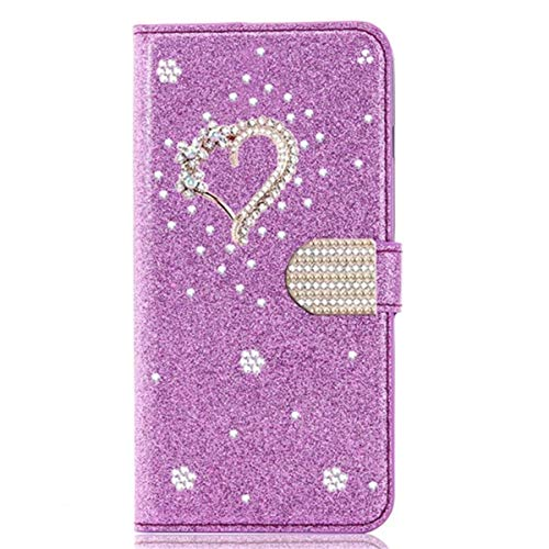 Blllue Wallet Case Compatible with Huawei Mate 20 Pro, Glitter Bling Diamond Love Heart Pu Leather Flip Phone Cover for Mate 20 Pro - Purple