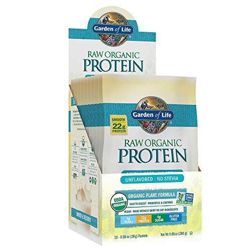 Garden of Life Raw Organic Protein Unflavored Powder Packets, 10ct Tray - Certified Vegan, Gluten Free, Organic, Non-GMO, Plant Based Sugar Free Shake with Probiotics & Enzymes, 4g BCAAs, 22g Protein