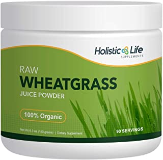 Holistic Life Supplements Organic Wheatgrass Juice Powder, Ancient Sea Bed Grown, 6.3 oz, Premium Raw