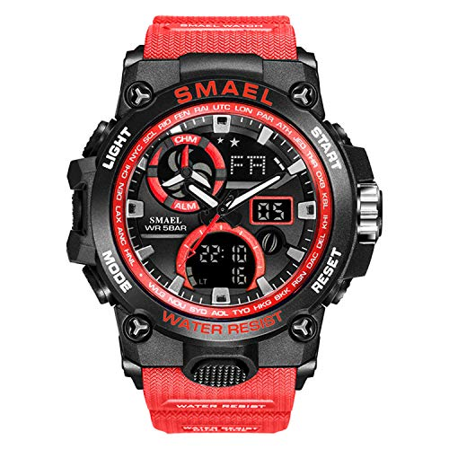 SMAEL - Reloj deportivo para hombre Military Army 50 m, relojes de pulsera impermeables moda hombre relojes (rojo)