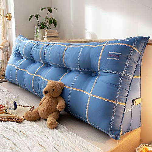 Z&H Large Wedge Pillow Triangular Headboard Cushion,Soft Reading Back Cushion Removable Back Position Support Sofa Tatami Bed Reading Pillow Blue 180 * 50 * 23cm (71 * 20 * 9')