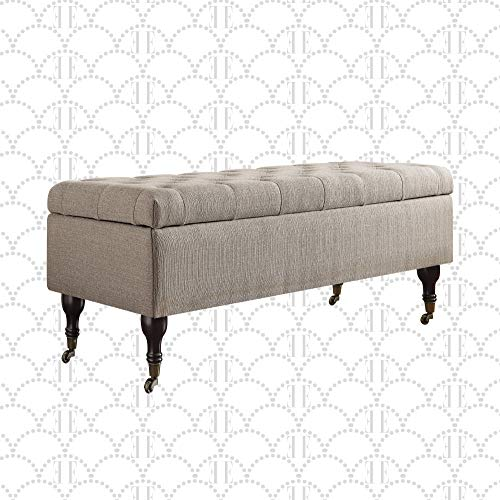 Elle Decor Collette Chic Tufted Upholstered Storage Bench Fabric Padded Ottoman for Bedroom French Linen