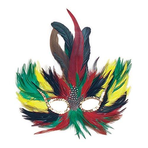 Tropical Coloured Feather Eye Mask Masquerade Ball Peacock Fancy Dress (máscara/careta)