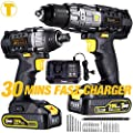 Drill Driver/Impact Driver, TECCPO 20v Max Professional Cordless Drill Driver Combo Kit with 2 pcs 2.0Ah Lithium-Ion Batteries, 30-Minute Quick Charger, 29pcs Accessories - TECCPO TDCK01P