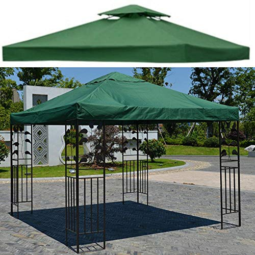 Replacement Gazebo Awning Cover 2 Tier Outdoor Garden Patio Replacement Cover Awning Replacement for Gazebo 10 x 10 Feet Beige, green