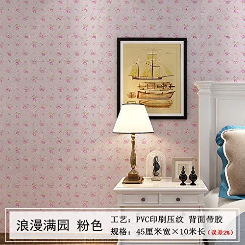Tapete selbstklebende Tapete Wandaufkleber wasserdicht Schlafzimmer voller Garten Puder