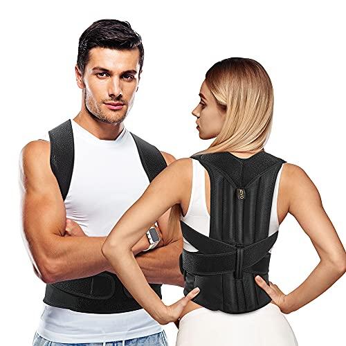 AEVO Corrector de Postura con Soporte Completo, Soporte de espalda para Mejora Postura, Alivia el Dolor de espalda, Soporte Ajustable y transpirable para cuello, espalda y hombros, L