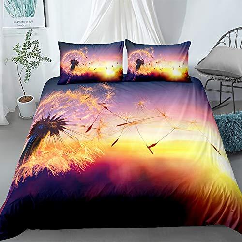 NBVGHJ 3d Scenery Printed Landscape Bedding Sets, Home Decoration Duvet Cover Single Bed Double Bed King Super King 140×200cm (Dandelion)